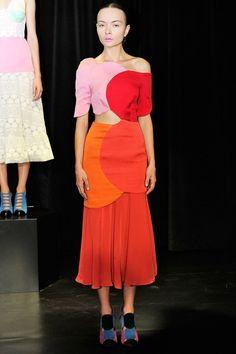 Tata Naka Pink red and oranges circle shapes midi dress. #ss14