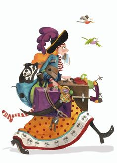 Monica Carretero Illustration - monica carretero, traditional, paint, painted, watercolour, ink, watercolor, picture book, fiction, educational, commercial, trade, people, woman, lady, ladies, women, girls, pirates