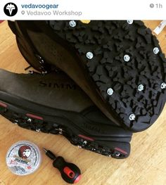 Scott from Vedavoo Gear has his boots ready for the new fishing season! Spikes, Goat, Converse Chuck Taylor, Baby Car Seats, High Top Sneakers, Fishing, Patterns, Cnd Nails, Block Prints