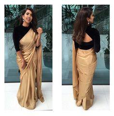 golden saree with black blouse designs Black Blouse Designs, Saree Blouse Neck Designs, Black Saree Blouse, Black Saree Plain, Full Sleeves Blouse Designs, Neckline Designs, Blouse Patterns, Churidar, Patiala