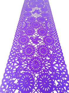 Mexican fabric Table Runner Papel Picado design Purple