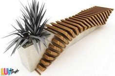 planter built into beautiful wood and cement outdoor bench