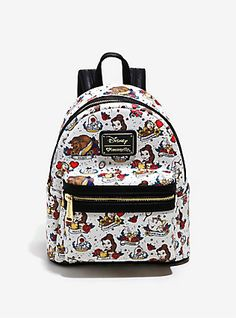 Loungefly Disney Beauty And The Beast Allover Tattoo Print Mini Backpack,