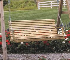 LuxCraft Pine Wood Rollback Porch Swing from DutchCrafters Amish Furniture. Made from solid wood, this rollback bench outdoor porch swing is made to order in the U.S.A. from pine wood in your choice of 4', 5' or 6' wide. Some assembly required. #porchswing #hanging #wooden #outdoor