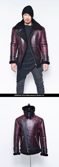 Outerwear :: Leather Jackets :: Lux Burgundy Shearling Lambskin Rider-Leather 90 - Mens Fashion Clothing For An Attractive Guy Look