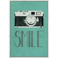 (13x19) Smile Retro Camera Art Poster Print
