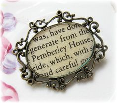Pemberley Brooch Bouquet Pin. Jane Austen Pride and Prejudice. Vintage Upcycled Text Book.