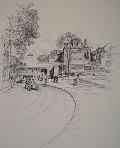 Sketch of the Tuxedo Club - Tuxedo Park, NY - north of Manhattan. A fashionable destination for members of the American Gilded Age society to venture, where they would participate in their winter sports and leisure activities. ~ {cwlyons}