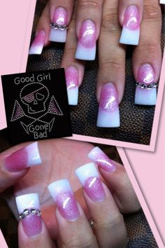 Hate the duck feet nails but love the polish design. Might copy it on my simple square acrylic nails (; it'll look much nicer Flare Acrylic Nails, French Manicure Acrylic Nails, Flare Nails, Pink Nail Designs, Acrylic Nail Designs, Feet Nail Design, Nails Design, So Nails, Duck Feet Nails