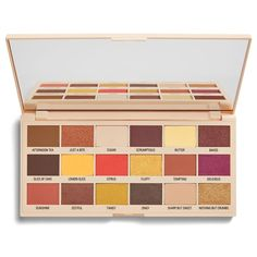 """Makeup Revolution gave us four new palettes on August This is the """"Lemon Drizzle"""" palette Makeup Revolution, Revolution Eyeshadow, Revolution Palette, Chocolate Eyeshadow Palette, Chocolate Palette, Eye Palette, Makeup Palette, Nude Colors, Lemon Drizzle"""