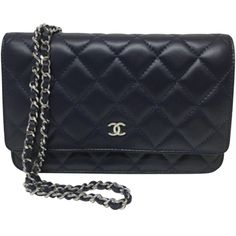 Pre-owned 2015 Woc Wallet On Chain Shoulder Bag Blue Quilted Lambskin... ($2,009) ❤ liked on Polyvore featuring bags, wallets, accessories, blue, quilted chain strap bag, chain shoulder bag, chanel bags, chanel and blue bag