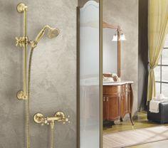 Wall mounted #shower  mixer and #slinding rail Aramis old brass  #Saliscendi e doccia esterno Aramis finitura vecchio bronzo