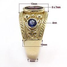Men's Sapphire and Garnet Ring 14k Yellow Ring 12 30gr US Sizes 7 to 14 0 | eBay