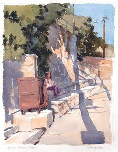 Purple Paisely Pants by Mike Kowalski Watercolor ~  x