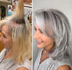 Hairdresser-Gray-Hair-Makeovers-Jack-Martin Medium Hair Styles, Natural Hair Styles, Short Hair Styles, Natural Beauty, Grey Hair Transformation, Gray Hair Highlights, Transition To Gray Hair, Silver Hair, Hair Looks