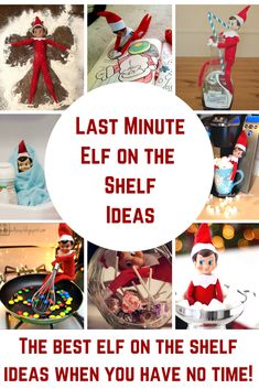 Last minute Elf on the Shelf Ideas! Uh-Oh! You forgot to move your Elf on the Shelf! Not to worry! We have tons of Elf on the Shelf ideas just for you! These are ideas that you can pull together in less than five minutes and with supplies that you already have in your home! #elfontheshelf #elfontheshelfideas #lastminuteelfontheshelfideas #elf #elfideas