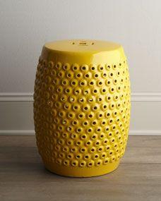 dining/living room (pedestal for little tree): Yellow Pierced Ceramic Stool, $150