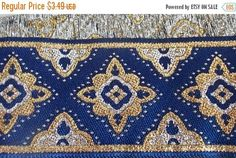 ON SALE Jacquard Ribbon Woven Trim  1-7/8 Inch Regal