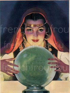 antique gypsy fortune teller crystal ball illustration. $4.95, via Etsy.