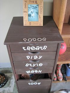 Organization for your pets items. Treats, cat, dog, grooming, play time.