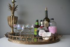 Footed Treasured Item. Jumbo Glam Brass Bamboo Tray. Organize your Bar Space. Bar Caddy. Barware. Hollywood Regency Style. $159.00, via Etsy.