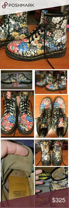 """Vintage 90s Floral Doc Marten Boots UK 6 Super RARE! Vtg floral, MADE IN ENGLAND.  UK size 6 which is APPROXIMATELY a US women's 8 - 8.5. Docs run large in my experience (I've owned at least 6 pairs over the years). I wear a US women's 8 and these are a half size too large for my foot.  Approx measurements: 11"""" measured back to tip when placed against wall 4"""" wide across widest point of sole 7 1/4"""" tall  Excellent vintage condition, mild fading and other normal signs of wear. See pics. No…"""