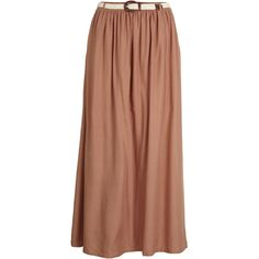 Object Collectors Item Qui Long Skirt In 65 ($43) ❤ liked on Polyvore featuring skirts, saias, faldas, long skirts, maxi skirts, nude, floor length skirts, layered skirt, woven belt and beige skirt