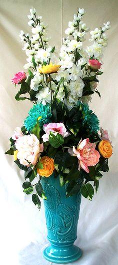 Blue silk flower arrangement arrangements by artsandcreations
