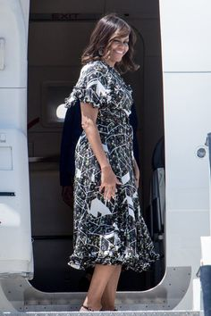 Michelle Obama Left Spain in a Travel Dress You Won't Forget