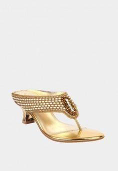 Womens Fancy Gold Slip On Wedding DayWedding ShoesWedding