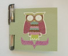 Owl Post It Note Holder & Pen Set, Purple Glitter Owl, Mini Notebook with Pen Set. $5.00, via Etsy.