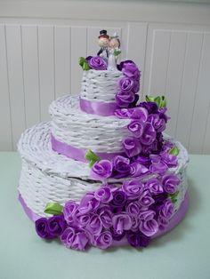 Tort z papierowej wikliny,  cake, paper wicker, wedding