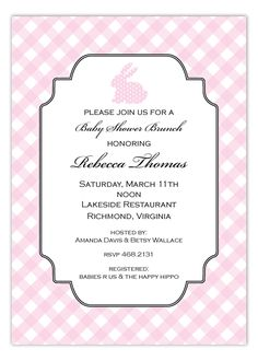 Pink Polka Dot Bunny Invitation #Easter #BabyShower