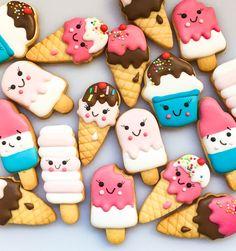 Fiestas para niña Kawaii Cookies, Cute Cookies, Cupcake Cookies, Cupcakes, Ice Cream Cookies, Iced Cookies, Royal Icing Cookies, Summer Cookies, Cute Desserts