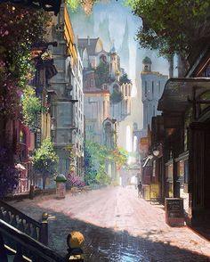 New Art Drawings Fantasy Scenery Ideas Fantasy City, Fantasy Places, Fantasy Kunst, Fantasy World, Fantasy Village, Fantasy Castle, Fantasy Landscape, Landscape Art, Fantasy Art Landscapes