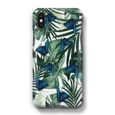Tropical Blue Butterfly Jungle Leaves Pattern #1 #tropical #decor #art Phone Case by AnitaBellaArt from €17.00   miPic