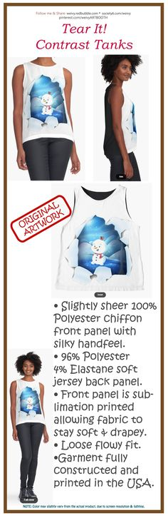 'Tear It! ~ Snowbaby Line' Sleeveless Top by We ~ Ivy Presents For Friends, Line S, My Themes, Good Cause, Graphic Shirts, Ivy, Tanks, Snowman, Classic T Shirts