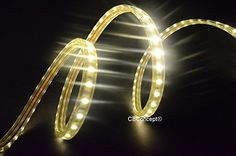 CBConcept® UL Listed, 10 Feet, Super Bright 2700 Lumen, 3000K Warm White, Dimmable, 110-120V AC Flexible Flat LED Strip Rope Light, 180 Units 5050 SMD LEDs, Waterproof IP65, Accessories Included, Size: 0.51 Inch Width X 0.31 Inch Thickness- [Christmas Lighting, Indoor / Outdoor Rope Lighting, Ceiling Light, Kitchen Lighting] [Ready to use]
