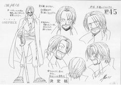 Shanks One Piece sheet, Character design, Official reference, Settei