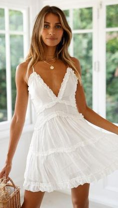 cute white lace ruffle short bodycon women mini dress spring summer homecoming dresses - Outfits to wear - Grad Dresses, Club Dresses, Homecoming Dresses, Sexy Dresses, Casual Dresses, Short Dresses, Mini Dresses, White Beach Dresses, Bohemian White Dress
