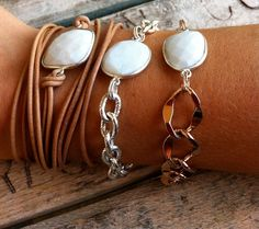 White Onyx Framed Stone Bracelet with Silver Chain. So beautiful!