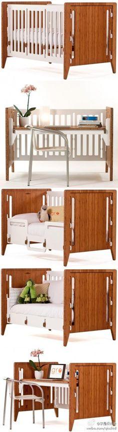 能够陪伴孩子成长的聪明家具~Bam B一款非常聪明的家具,从婴儿床到游戏桌(play table)再到办公桌,它可以一直守候在孩子的身旁直到他们走出校园参加工作。试想一下,如果现在家中的办工桌曾经是我童年酣睡过的小床…