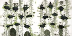Another Green World, 2006  oil, ink and enamel on canvas  2000 x 4000 mm (diptych). John Puhiatau Pule, b. 1962, Liku, Niue. Lives and works in Auckland, New Zealand.