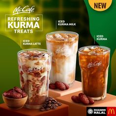 McDonald's McCafe Refreshing Kurma Treats start from 20 April 2020 Food Graphic Design, Food Menu Design, Juice Menu, Social Design, Ice Milk, Coffee Poster, Snack Recipes, Snacks, Creative Food