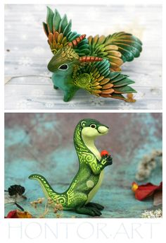 Fantasy and animal sculpture by Evgeny Hontor. Polymer Clay Figures, Polymer Clay Sculptures, Polymer Clay Animals, Cute Polymer Clay, Ceramic Animals, Sculpture Clay, Polymer Clay Crafts, Dragon Miniatures, Cute Fantasy Creatures