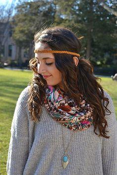 Boho Camel Suede Braided Headband for Women by BizzyBCrafts