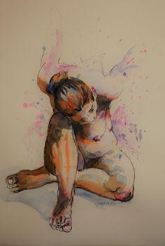 Akt in Aquarell 56x76cm #watercolor #wegerart.at#Nude #Drawing wasserfarben#wegerart#bernhardweger Drawing, Painting, Art, Watercolors, Watercolor, Art Production, Pictures, Art Background, Painting Art