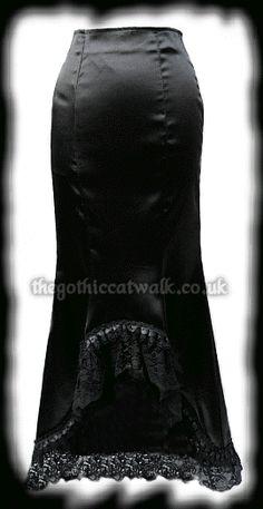 Long Black Satin Vampy Mermaid Skirt