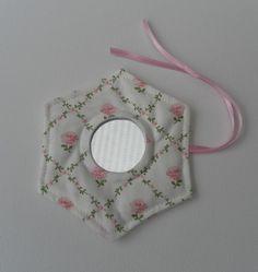 Handbag Mirror, Laura Ashley Fabric, Hexagonal, Pink Roses on Light Cream  £7.50