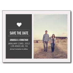 Dunkelgraue Foto-Save the Date Postkarten